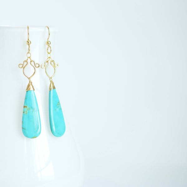 Arianne - Turquoise, 14k Gold Filled Earrings