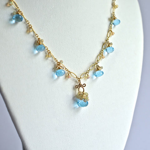Atasi - Sky Blue Topaz, Ethiopian Opal 14k Gold Filled Necklace