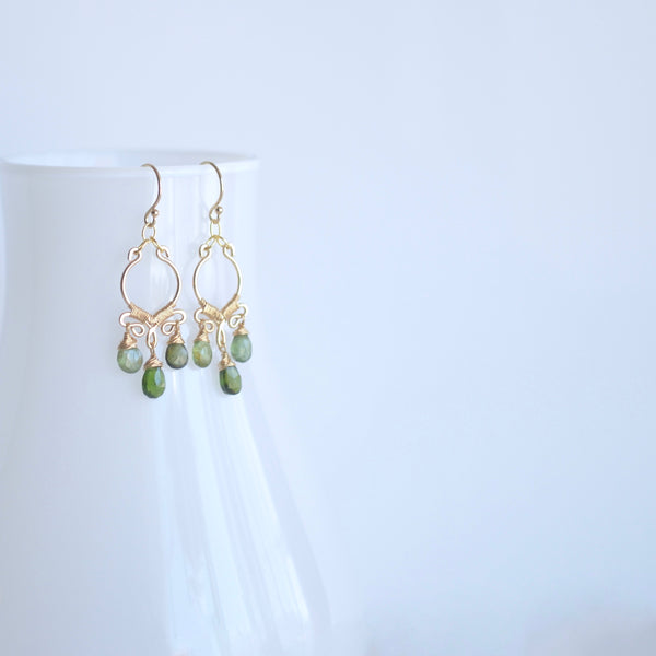 Aura - Green Tourmalines, 14k Gold Filled Small Chandelier Earrings