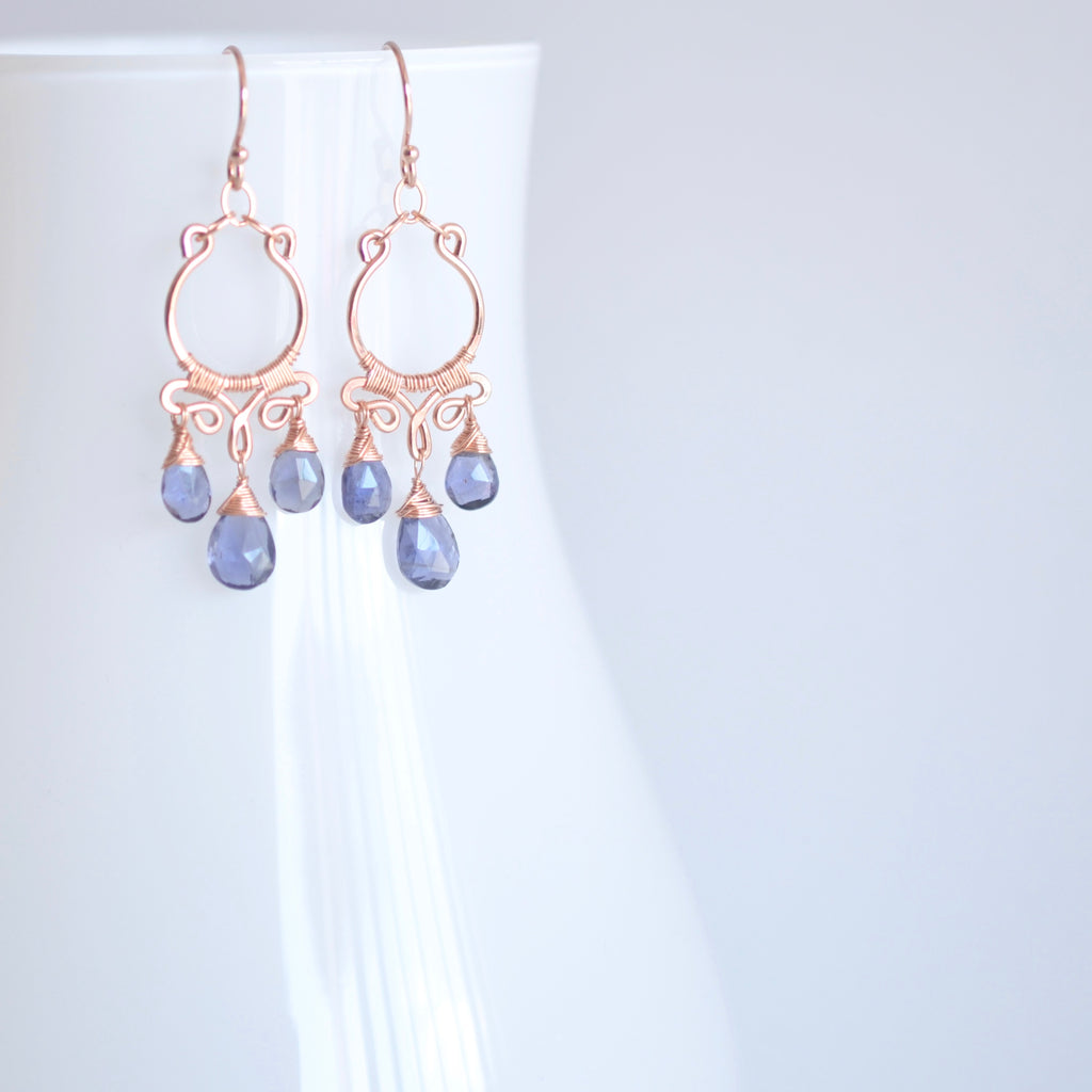Aura - Iolite, 14k Rose Gold Filled Earrings