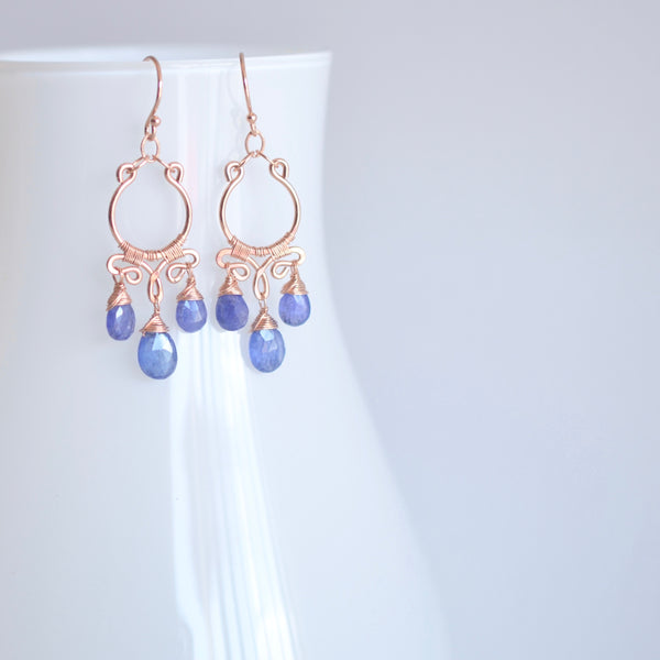 Aura - Tanzanite, 14k Rose Gold Filled Earrings