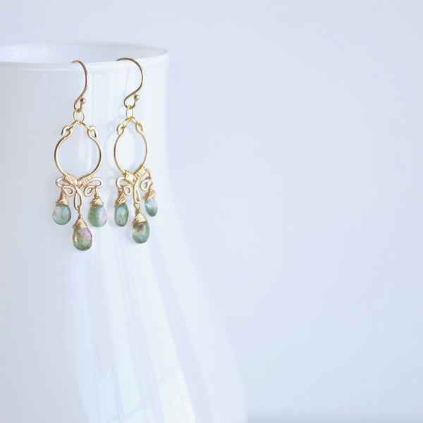 Aura - Watermelon Tourmalines, 14k Gold Filled Small Chandelier Earrings