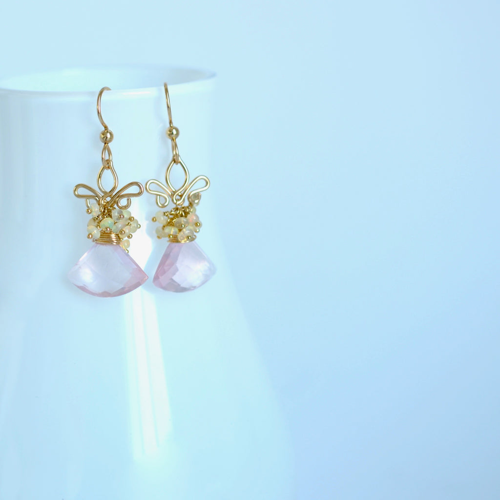 Azucena - Rose Quartz, Ethiopian Opal Gold Filled Earrings