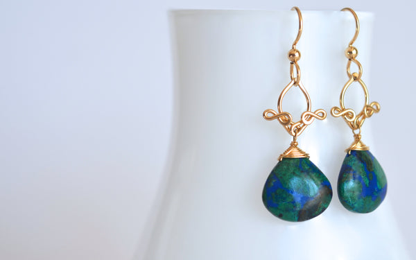 Delphina - Azurmalachite and 14k Gold Filled Dangly Earrings