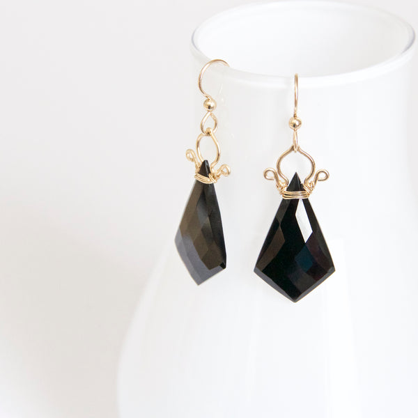 Celine - Black Spinel 14k Gold Filled Earrings