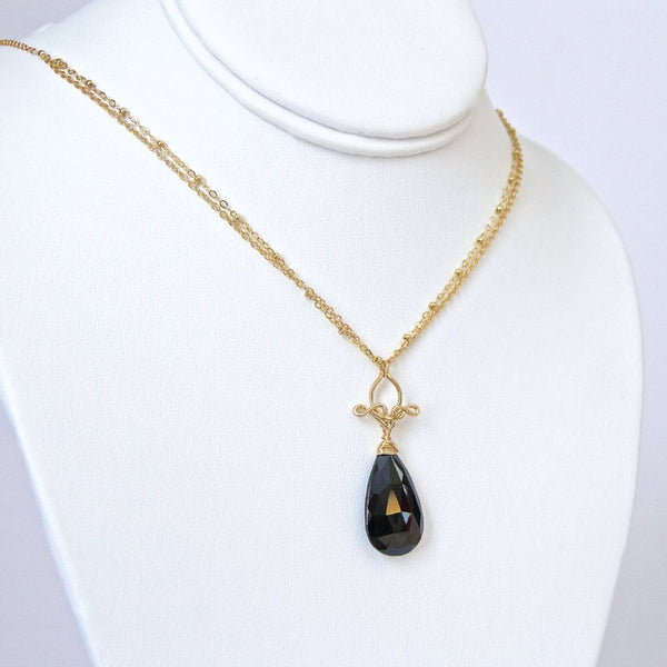 Pamela - Black Spinel and 14k Gold Filled Necklace
