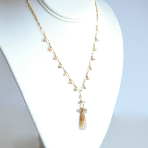 Brida - Rutilated Quartz, Zircons 14k Gold Filled Necklace