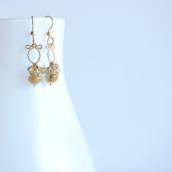 Brida - Rutilated Quartz, Zircons 14k Gold Filled Earrings