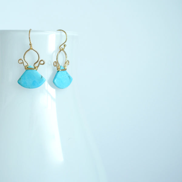 Brienne - Turquoise, 14k Gold Filled Earrings