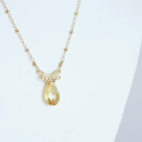 Camila - Citrine, 14k Gold Filled Necklace