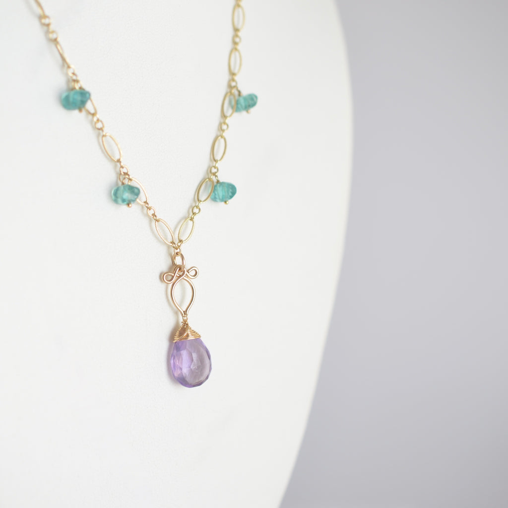 Camille -  Amethyst, Apatite 14k Gold Filled Necklace