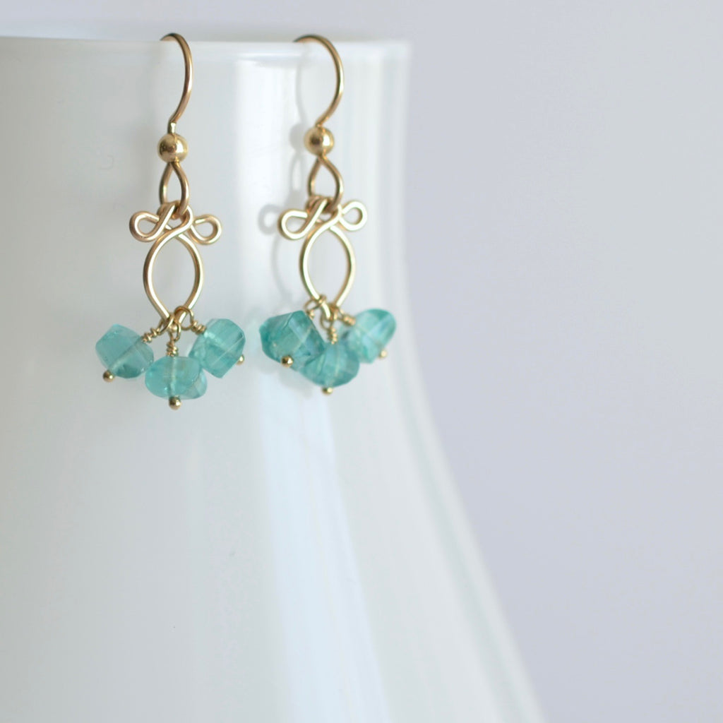 Camille -  Apatite 14k Gold Filled Earrings