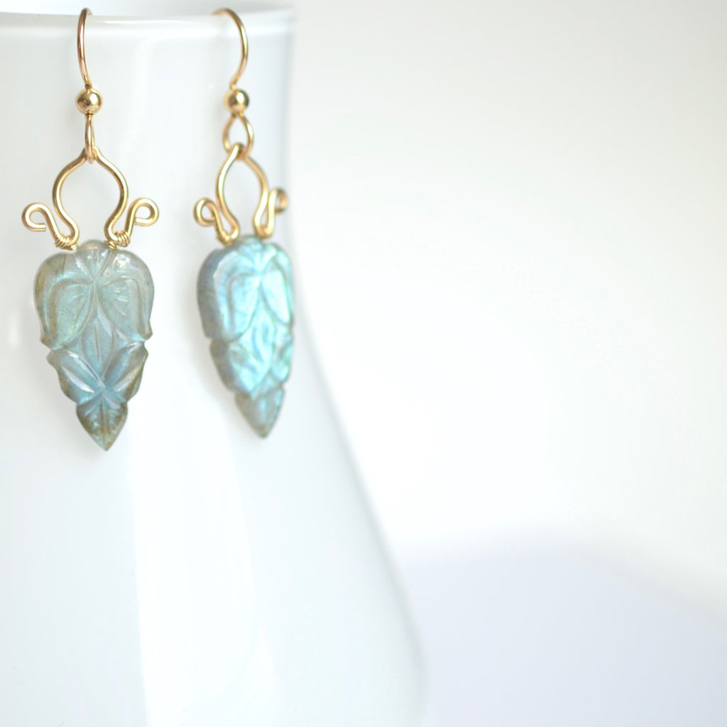 Carmela - Hand Carved Labradorite, 14k Gold Filled Earrings