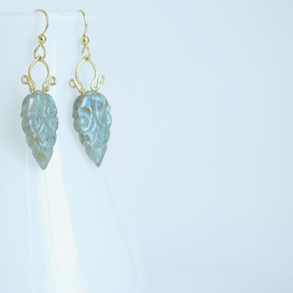 Carmela #2 - Hand Carved Labradorite, 14k Gold Filled Earrings