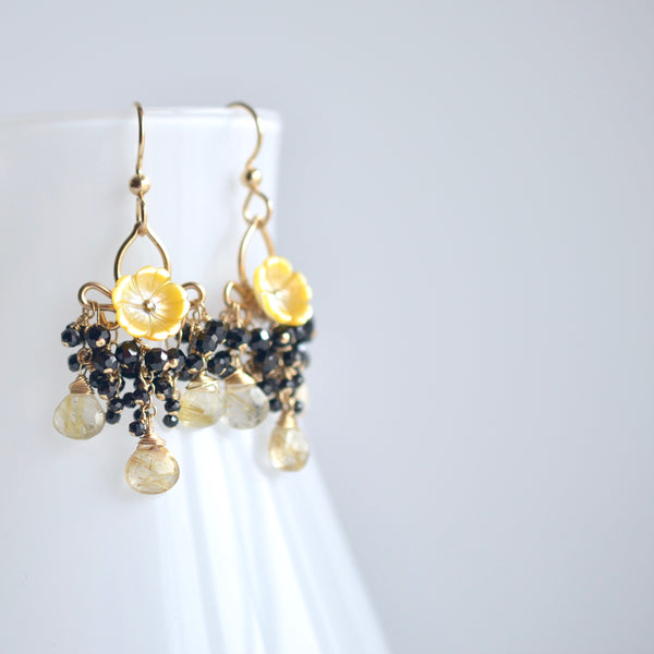 Carmen - Mother of Pearl, Rutilated Quartz and Black Spinel Gold Filled Earrings