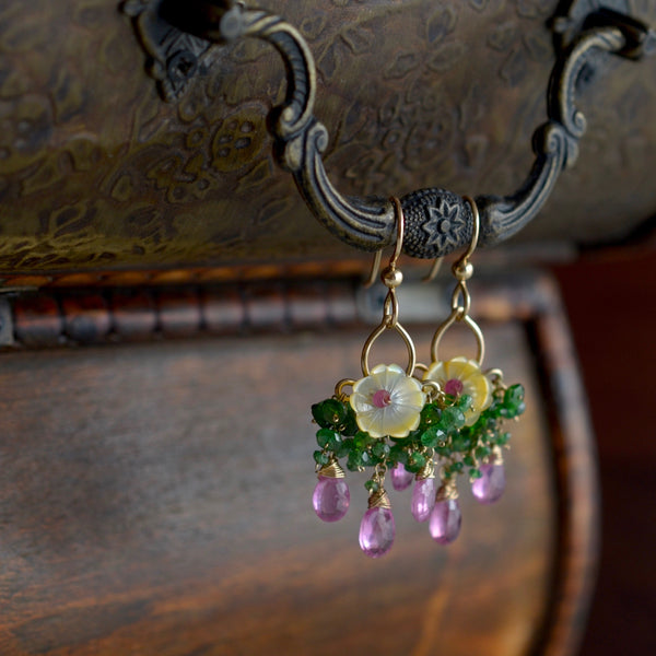 Carmen - Mother of Pearl, Pink Sapphires, Chrome Diopside, Emeralds, 14k Gold Filled Earrings