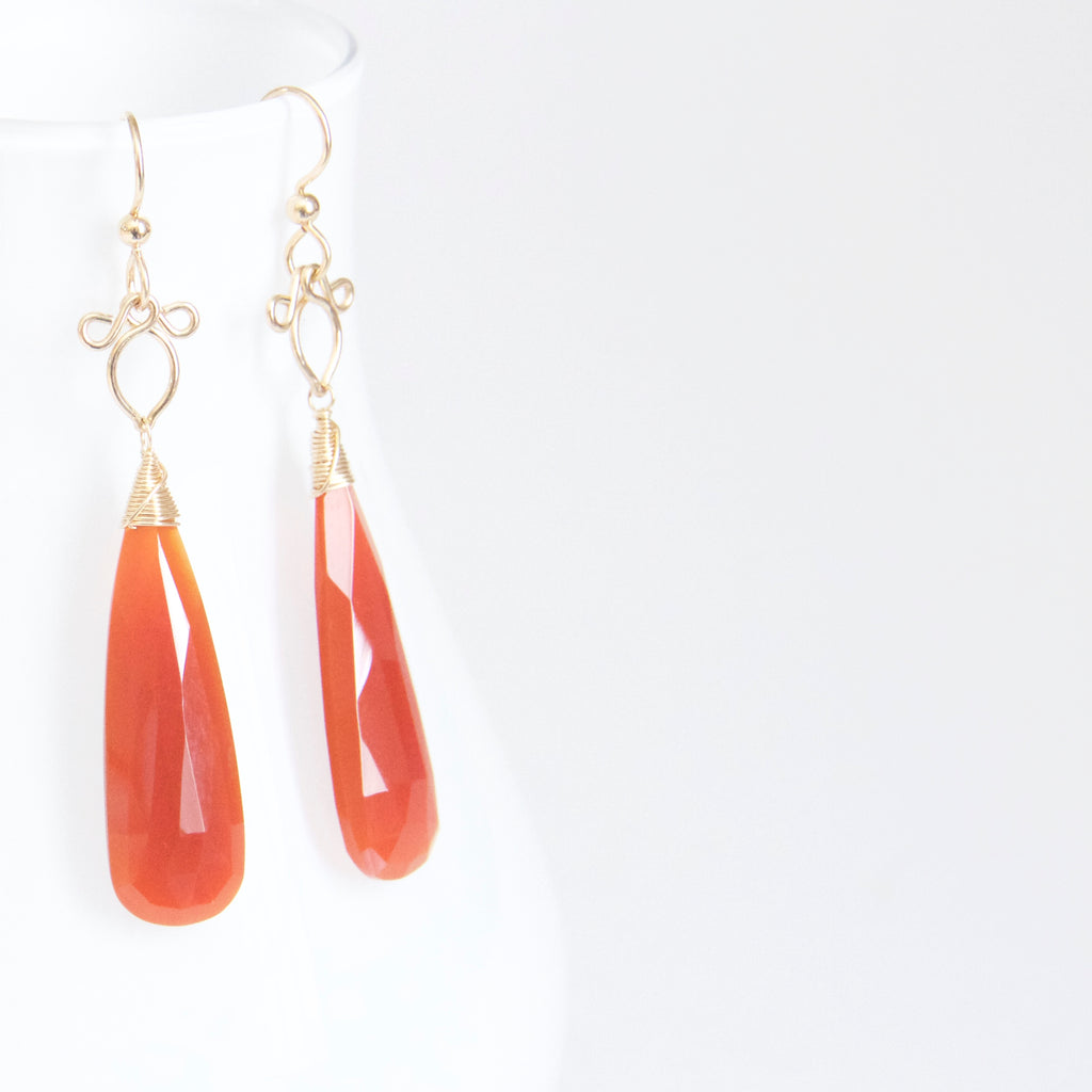 Preeda - Carnelian, 14k Gold Filled Earrings