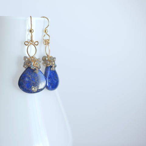 Cecilia- Lapis Lazuli, Labradorite, 14k Gold Filled Earrings