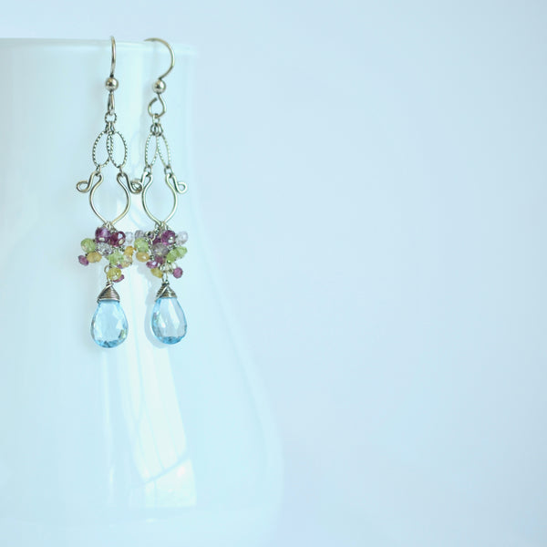 Celeste - Sky Blue Topaz, Garnet, Peridot, Oxidized Silver Earrings