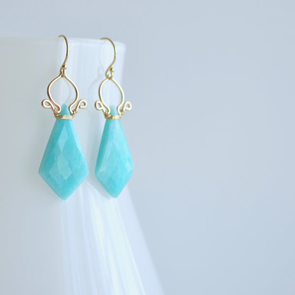 Celine - Amazonite, 14k Gold Filled Earrings
