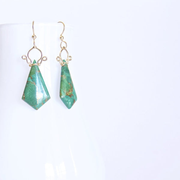 Celine - Azurite, 14k Gold Filled Earrings