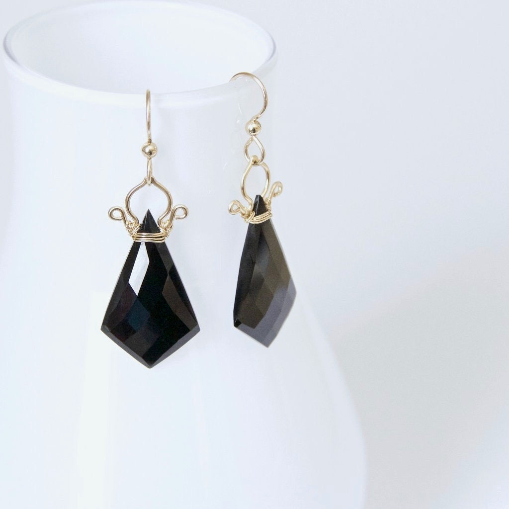 Celine - Black Spinel, 14k Gold Filled Earrings
