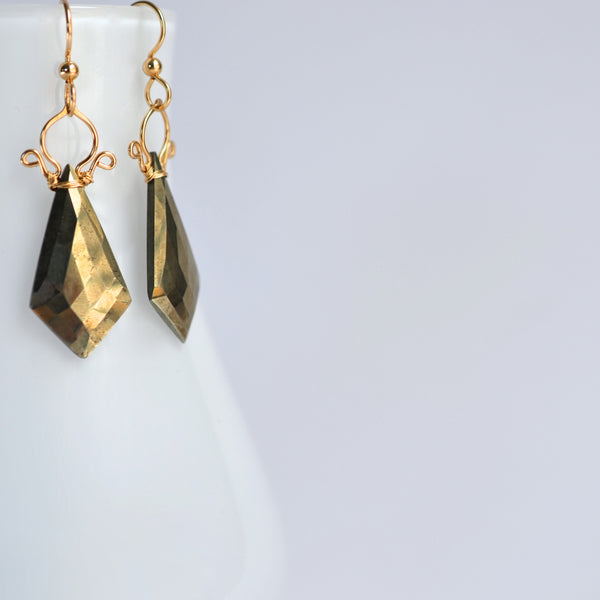 Celine - Pyrite, 14k Gold Filled Earrings
