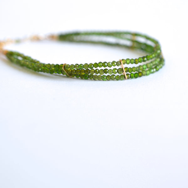 Lauren - Chrome Diopside, 14k Gold Filled, Three Strand Bracelet