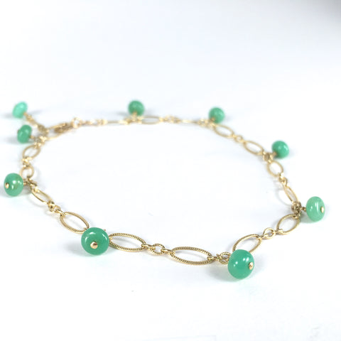 Lili - Chrysoprase, 14k Gold Filled Bracelet