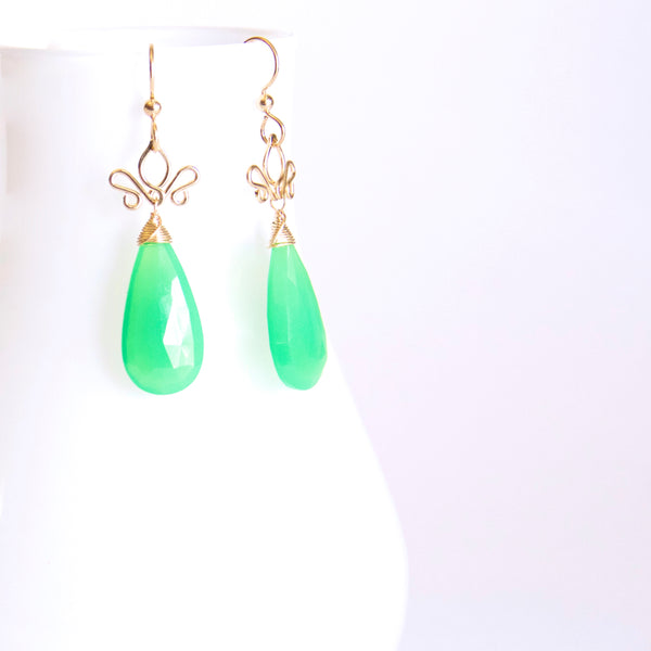 Aracelis  - Chrysoprase, 14k Gold Filled Earrings