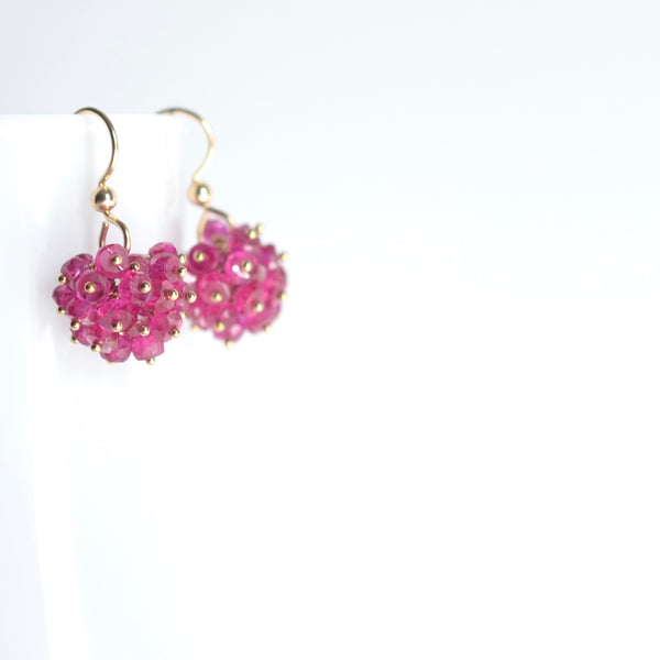 Claudia - Pink Sapphire, 14k Gold Filled Cluster Earrings