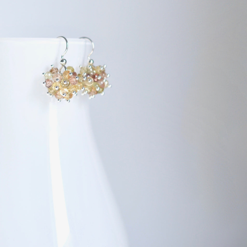 Claudia - Zircon, 14k Sterling Silver Earrings