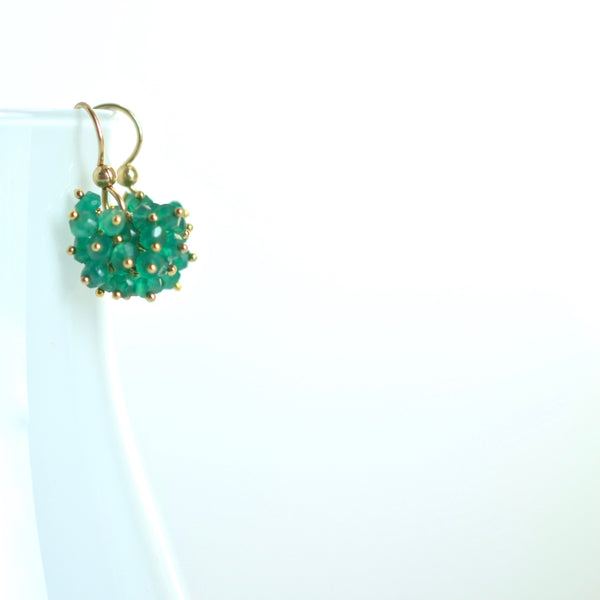 Claudia - Green Onyx, 14k Gold Filled Cluster Earrings