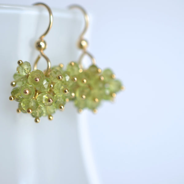Claudia -  Peridot, 14k Gold Filled Cluster Earrings