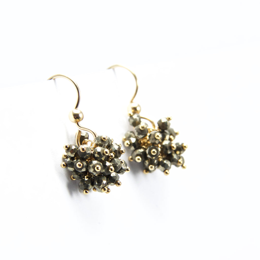 Claudia -  Pyrite, 14k Gold Filled Cluster Earrings
