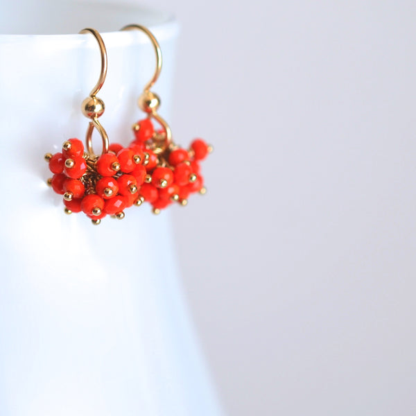 Claudia - Orange Chalcedony 14k Gold Filled Earrings
