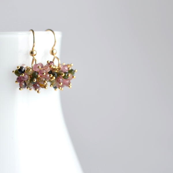Claudia - Tourmaline, 14k Gold Filled Cluster Earrings