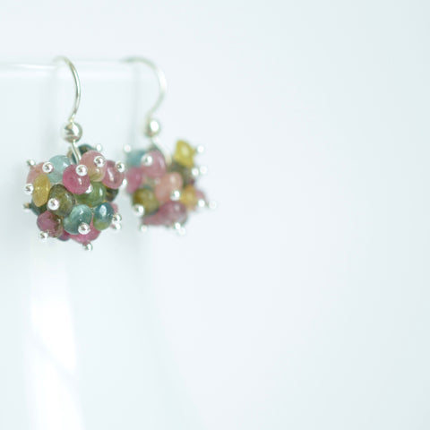 Claudia - Tourmaline, Sterling Silver Cluster Earrings