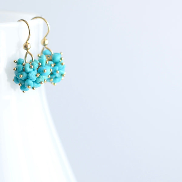 Claudia - Turquoise, 14k Gold Filled Cluster Earrings