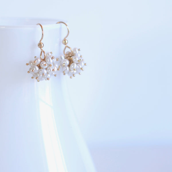 Claudia -  White Freshwater Pearls, 14k Gold Filled Cluster Earrings