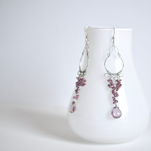 Cleo - Ametrine, Garnet, Oxidized Silver Earrings
