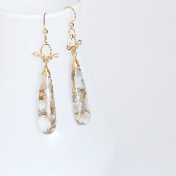 Salome - Copper Calcite, 14k Gold Filled Long Earrings