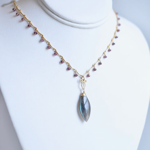 Cora - Labradorite, Garnet, 14k Gold Filled Necklace