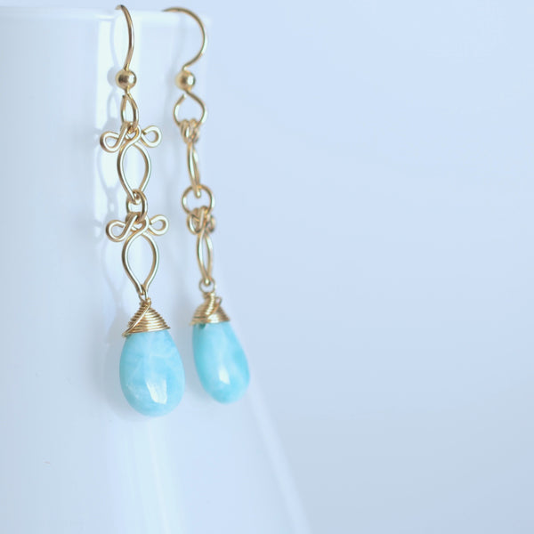 Long Arabella - Larimar and 14k Gold Filled Earrings