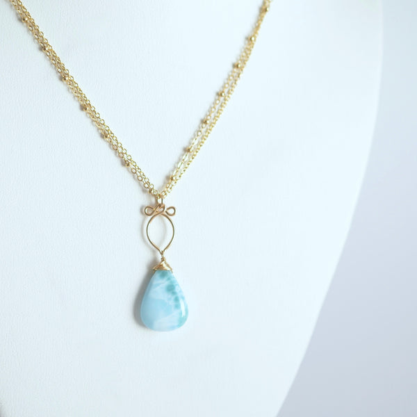 Ariana - Larimar and 14k Gold Filled Necklace