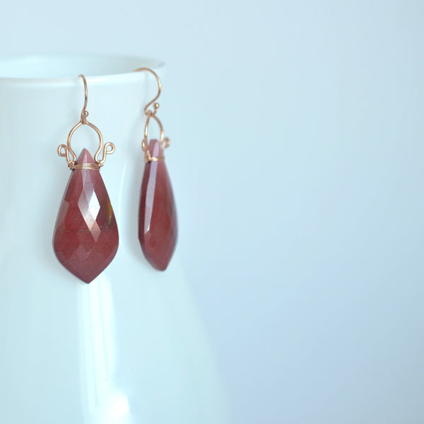 Ramona - Mookaite Jasper, Rose Gold Filled Earrings