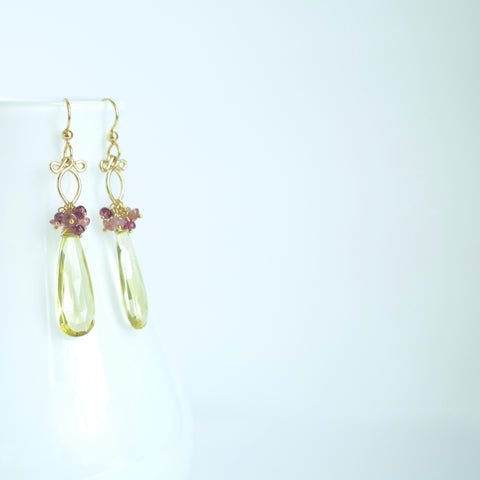 Leonora - Lemon Quartz and Tourmalines 14k Gold Filled Earrings
