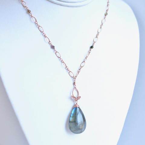 Pamela #2 - Labradorite and Tourmalines, 14k Rose Gold Filled Necklace