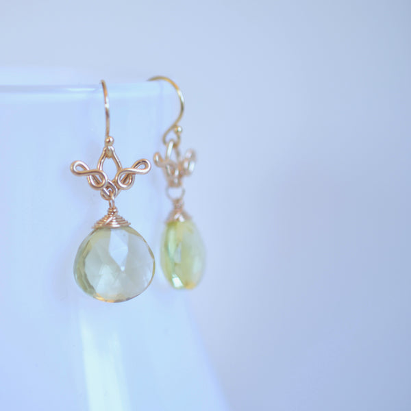 Delphine - Lemon Quartz, Tourmalines, 14k Gold Filled Earrings