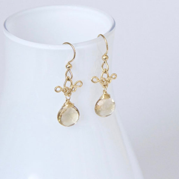 Delphina - Smoky Quartz, 14k Gold Filled Earrings